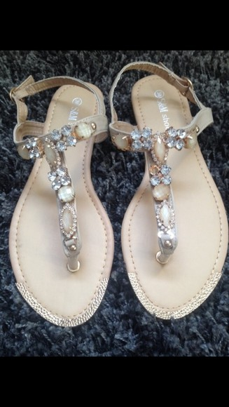 white sweet pearls shoes sandals gold silver stones girly light brown