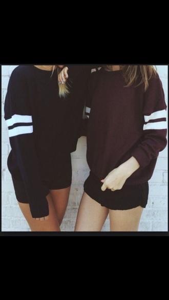shirt black college stripes sweater