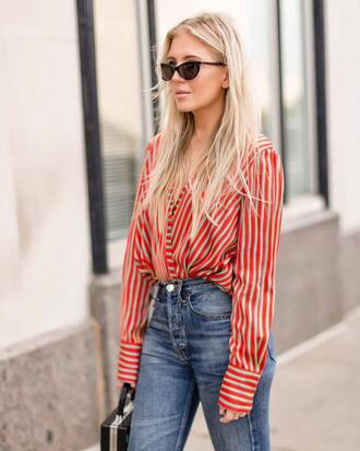 shirt tumblr red shirt stripes striped shirt denim jeans blue jeans v neck plunge v neck sunglasses