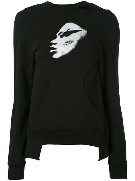 Dust - open back printed sweatshirt - women - Cotton - XXL, Black, Cotton