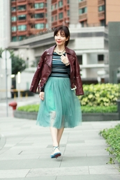 mochaccinoland,blogger,tulle skirt,mint,sandals,perfecto,top,skirt,jacket,jewels,shoes