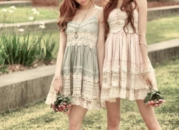 dress lovely cute cute. blue pink lace white flowers cute dress