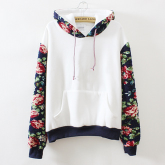 sweater white red black long sleeves fashion trendy cute floral printed long sleeve hooded pullover sweatshirt kawaii harajuku
