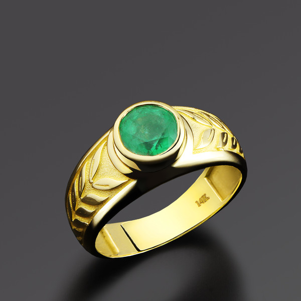 Men s Ring 14k Solid Yellow Gold Certificated 1 94ct Green Natural Emerald