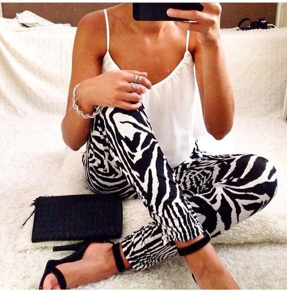 zebra print blouse jeans printed pants