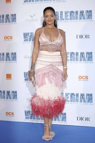 skirt top two-piece gown rihanna sandals pink crop tops shoes