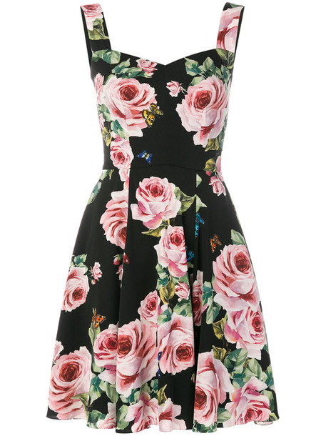 dress rose women spandex cotton print black silk