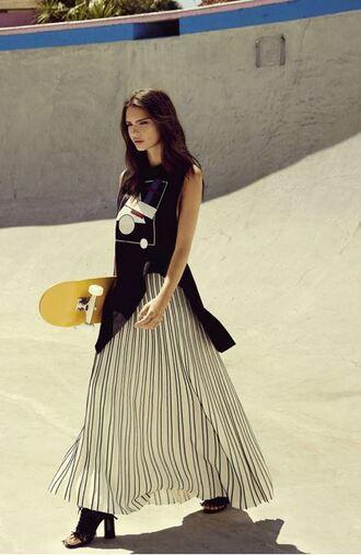 skirt maxi skirt emily ratajkowski sandals striped skirt editorial peep toe boots