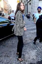 shoes,kaia gerber,sandals,sandal heels,heels,pants,black pants,blazer,bag