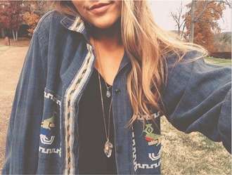 shirt beaded aztec tribal beaded free people urban outfitters nasty gal indie flannel shirt
