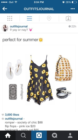 romper style sunflower summer dress bag printed backpack