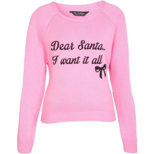 sweater christmas christmas sweater ugly christmas sweater pink quote on it girly wishlist wheretoget - Pink Ugly Christmas Sweater