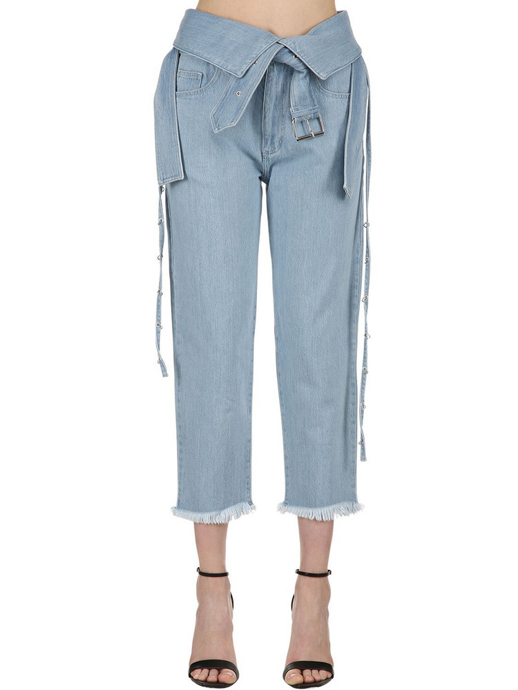 MARQUES'ALMEIDA Belted Washed Denim Jeans in blue