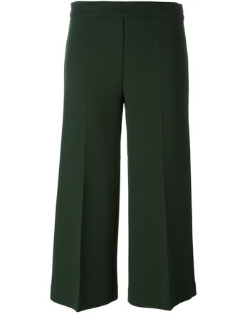 cropped women spandex wool green pants