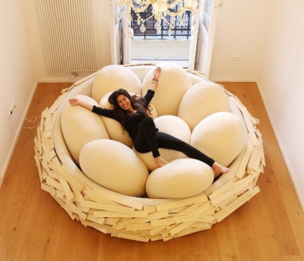 home accessory bedding egg bed white brown