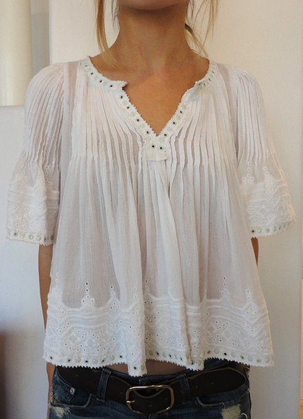 5f0134cc shirt, country, flowy top, clothes, top, blouse, white, vintage ...