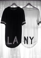 shirt,black and white,los angeles top,new york city,black,white tank top,t-shirt,white,l.a.,long shirt,black and white shirt,cool shirts,la,tumblr clothes,tumblr shirt,blouse,b&w,high-low dresses,cute,la &ny shirt,los angeles,matching shirts,streetstyle,black t-shirt,white t-shirt,oversized t-shirt,style,trendy,long,top,jersey dress,urban