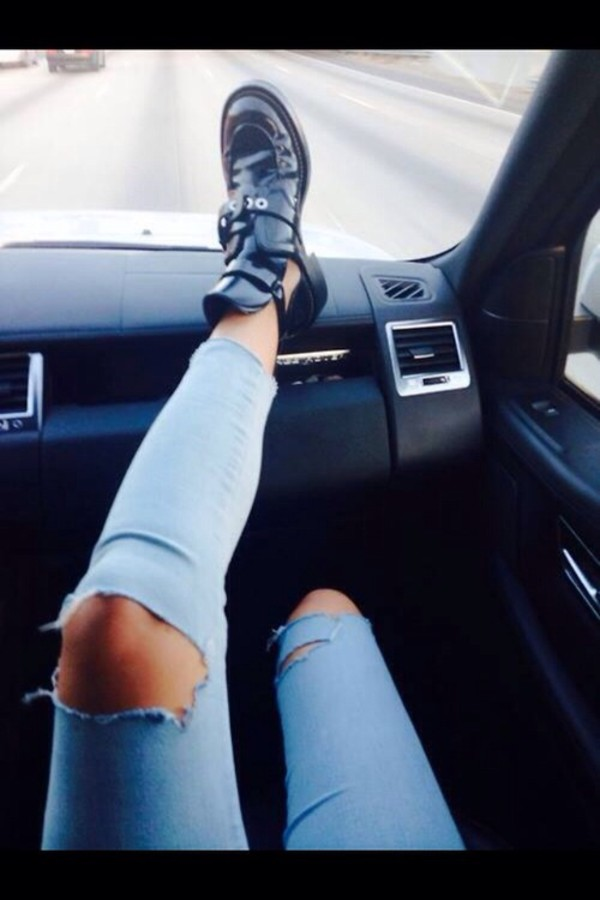 shoes jeans holes cute outfits couture chic designer cropped ripped acid wash denim light
