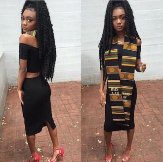 top black dress off the shoulder black girls killin it tumblr girl graduation