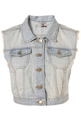 Sleeveless Denim Crop Jacket - Jackets & Coats  - Clothing  - Topshop
