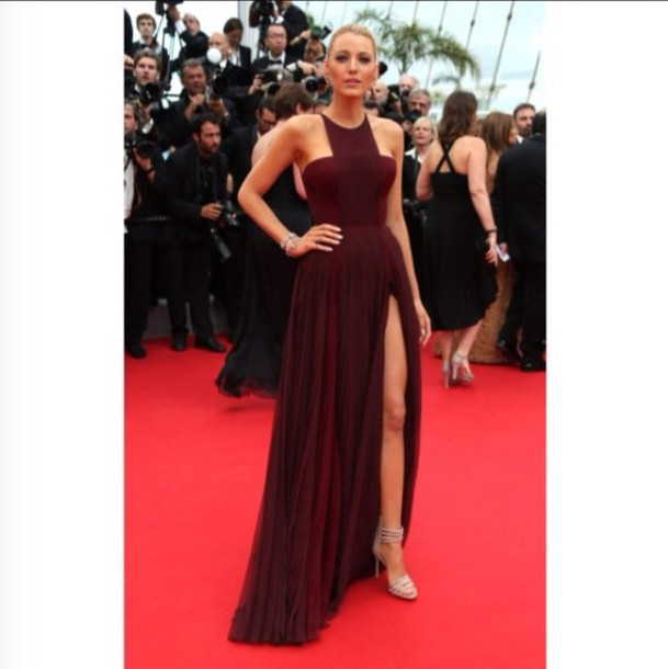 Dress Blake Lively Prom Dress Burgundy Dress Debs Dress Formal