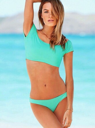swimwear bikini aqua mint girly bohemian