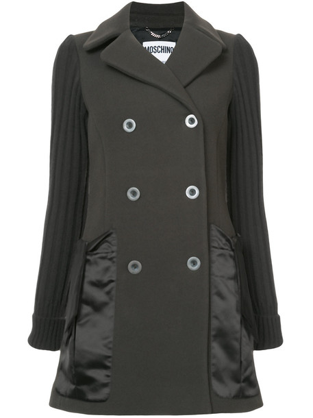 coat pea coat double breasted women wool grey