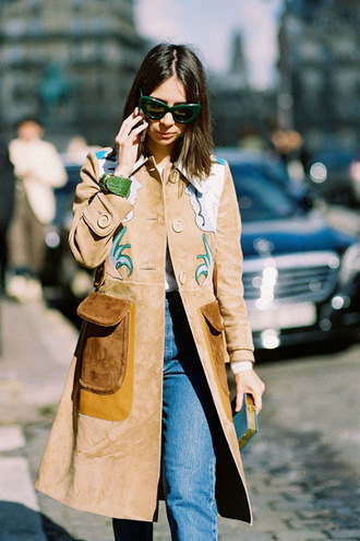 vanessa jackman blogger jacket coat suede patch