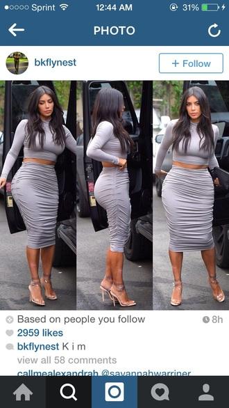 kim kardashian grey dress dress skirt
