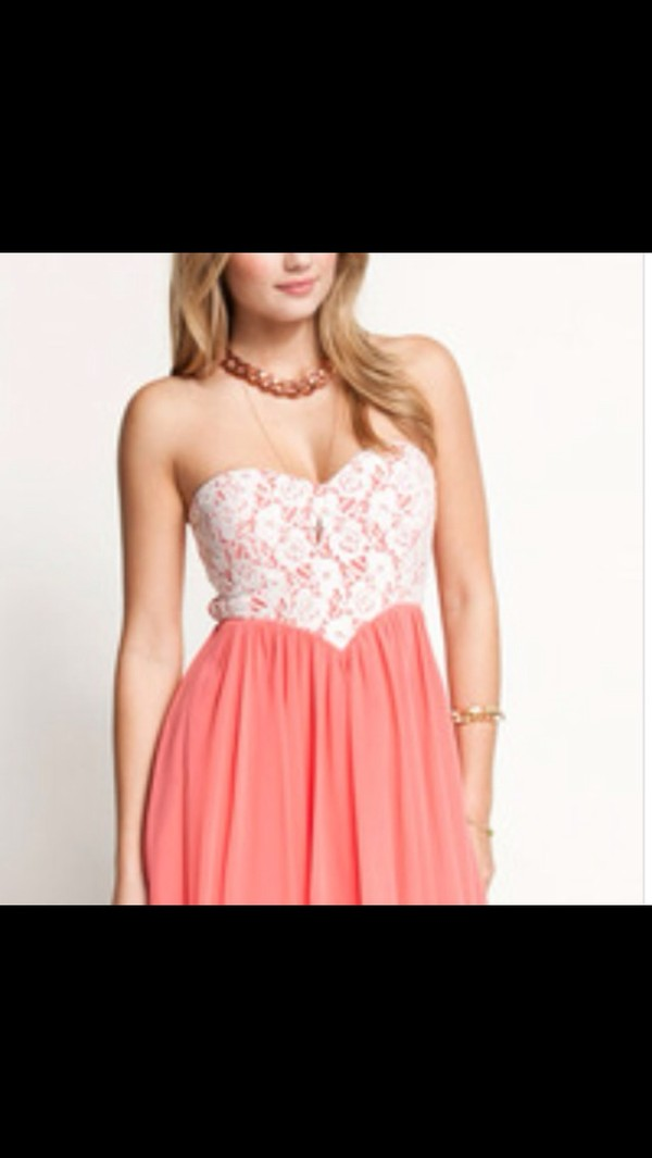 dress pink white lace cute heart strapless dress casual fancy