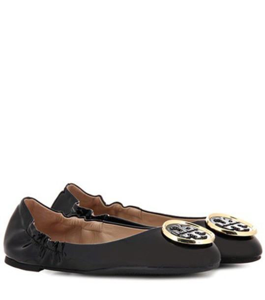 Tory Burch Twiggie Patent Leather Ballerinas in black