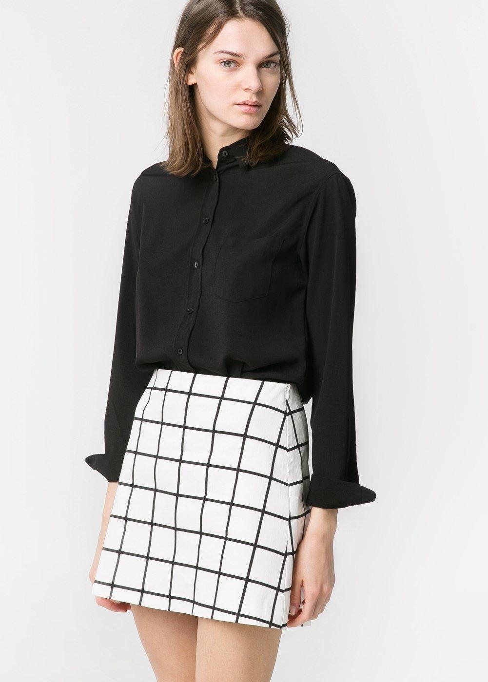 Falda bicolor cuadros -  Vestidos - Mujer - MANGO