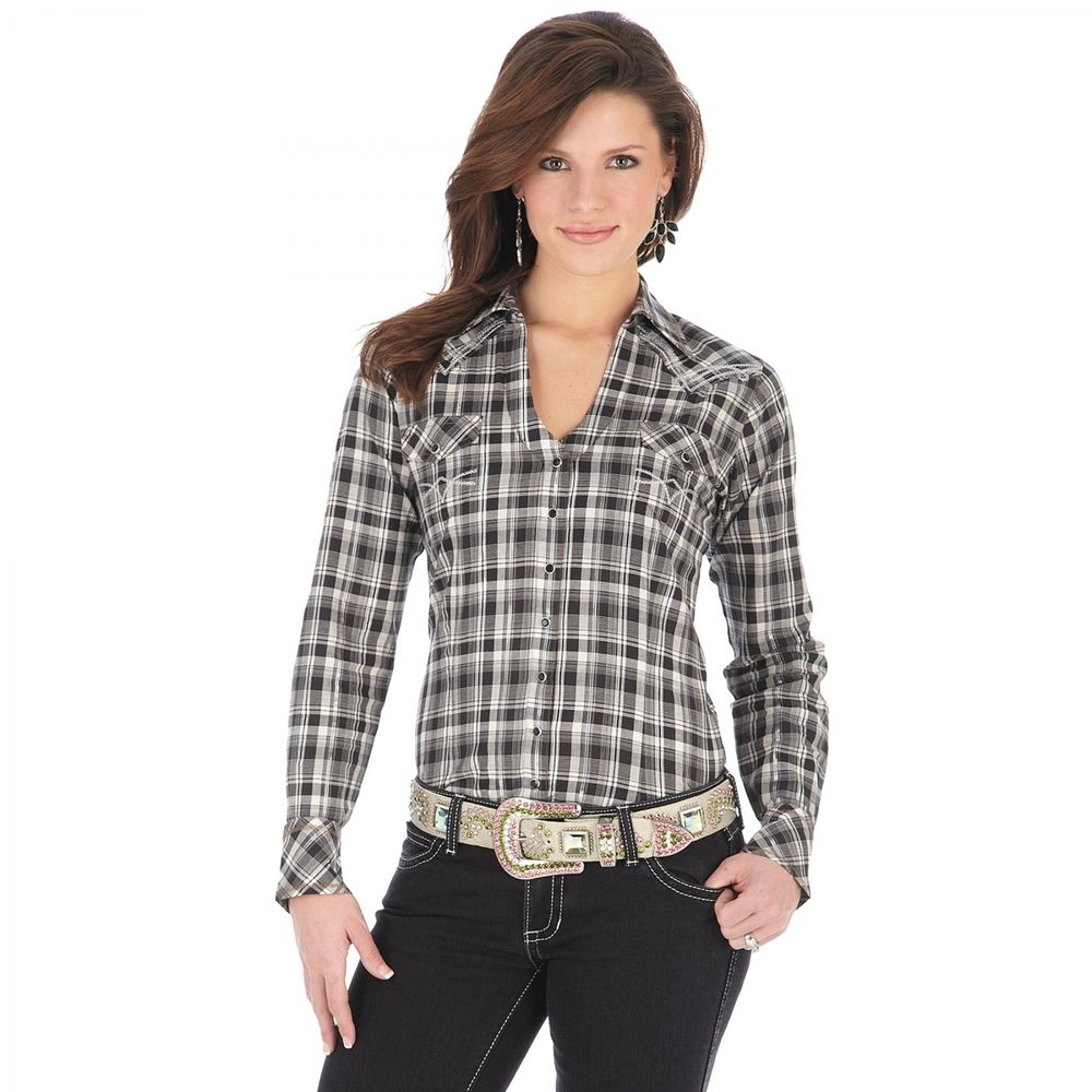 NWT Ladies Rock 47 by Wrangler Long Sleeve Shirt Gray Black Plaid Snap | eBay