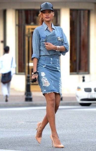 Dress: double denim, shirt, skirt, knee length, ripped ...