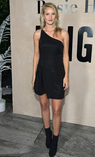 dress black dress mini dress one shoulder one shoulder dress little black dress rosie huntington-whiteley model off-duty