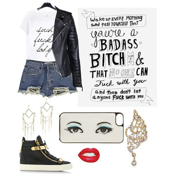 earing shots leather jacket phonecase iphone red lips piercings