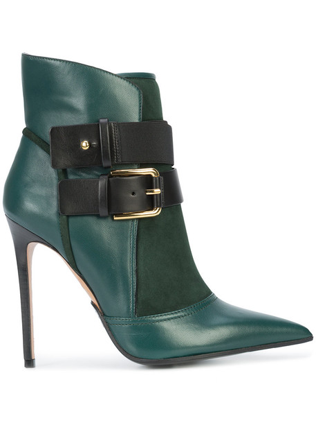 Balmain women ankle boots leather green shoes
