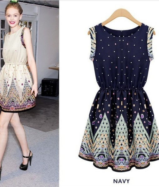 Free Shipping European style women's fashion boutique positioning printed sleeveless pleated swing vintage bodycon mini dress | Amazing Shoes UK