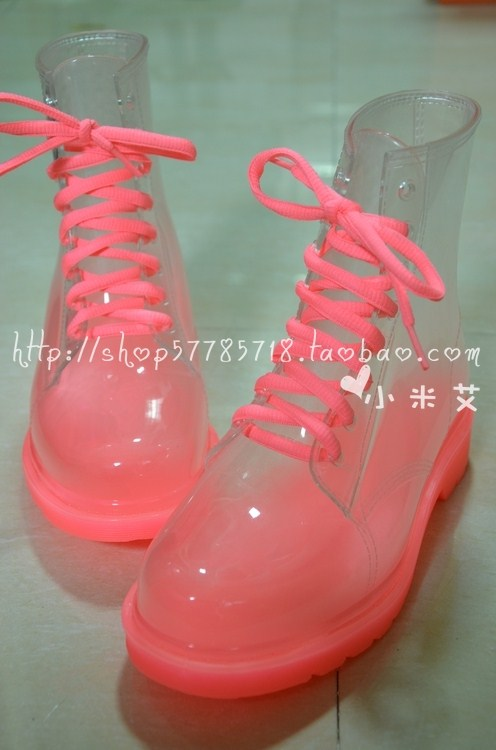 Fashion transparent crystal women's colorful flat high heel rainboots rain boots colorful pastel yellow martin boots