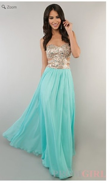 dress, turquoise, white, long prom dress, prom dress, prom dress ...