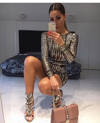 jumpsuit clothes gold sequins black fashion shoes bag weheartit luxury