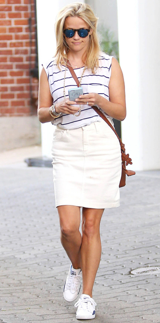 skirt top striped shirt blouse sneakers reese witherspoon shoes
