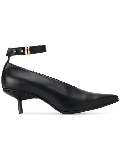ankle strap women pumps leather black black leather shoes