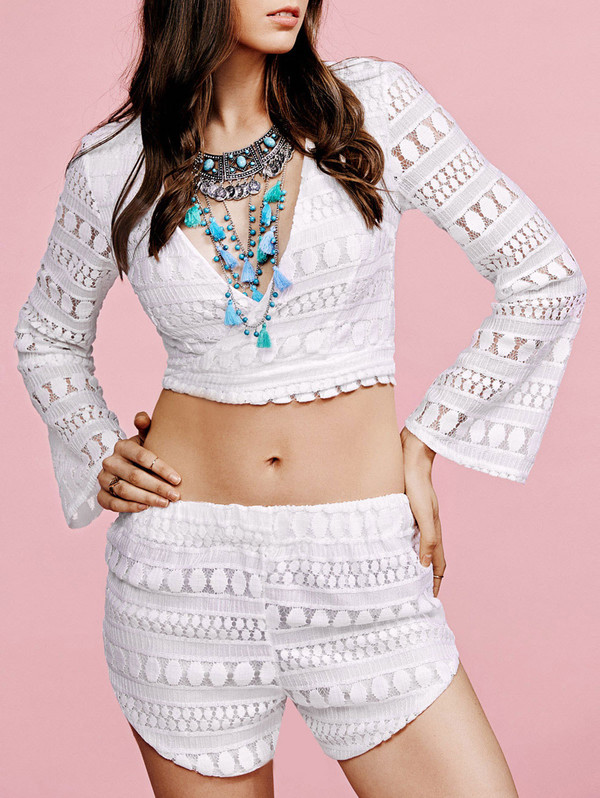 romper white summer shorts long sleeves crop tops festival fashion spring two-piece zaful