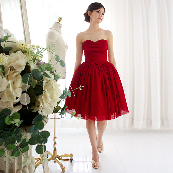 2014 New arrival Red  chiiffon short design  sexy  lace up evening bow  dress A1000-inEvening Dresses from Apparel & Accessories on Aliexpress.com