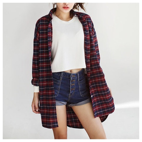 Oversize color block plaid top from doublelw on storenvy