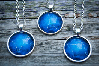 jewels zodiac galaxy print glow worm shop necklace space etsy astrology constellation jewelry