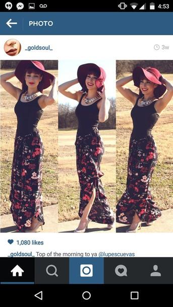 skirt black skirt rose roses floral skirt floral