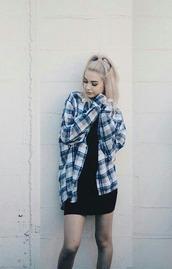 shirt,plaid shirt,makeupbymandy24,soft grunge,dress,checkered blue blouse,black dress