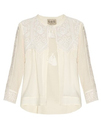 blouse long embroidered lace cream top
